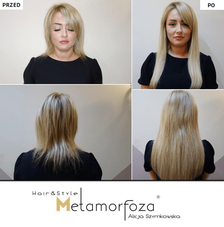 Przedłużanie włosów bielsko biała przed po